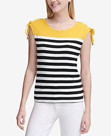 Calvin Klein Colorblocked Striped Tie-Shoulder Top