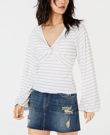 American Rag Juniors' Striped Twist-Front Top, Created for Macy's