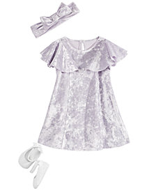 First Impressions Baby Girls Velvet Ruffle Dress, Headband & Ballet Shoes Separates, Created for Macy's