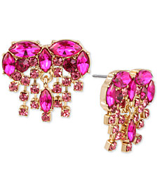Betsey Johnson Gold-Tone Crystal Heart Fringe Button Earrings