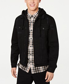 American Rag Mens Hooded Denim Trucker Jacket, Created for Macy's