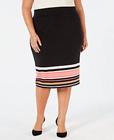 Alfani Plus Size Printed Scuba Skirt, Created for Macy's