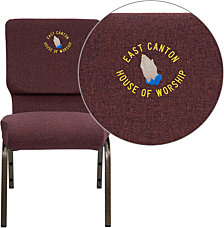 Embroidered Hercules Series 18.5''W Stacking Church Chair In Plum Fabric - Gold Vein Frame
