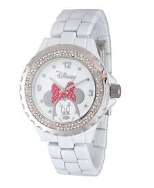 Disney Minnie Mouse Women's Enamel Sparkle White Alloy Watch