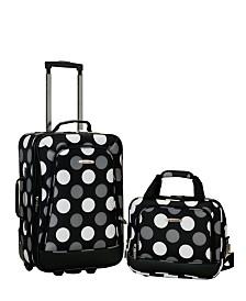 Rockland 2-Piece New Blk Dot Luggage Set