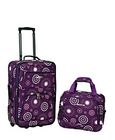 Rockland 2PCE Purple Pearl Softside Luggage Set
