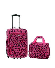 Rockland 2PCE Magenta Leopard Softside Luggage Set