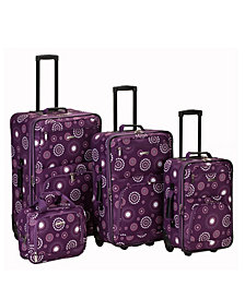 Rockland 4-Piece Purple Pearl Luggage Set