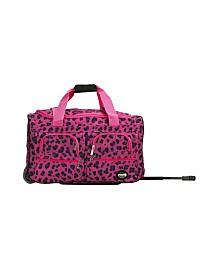 "Rockland Pink Leopard 22"" Rolling Duffle Bag"