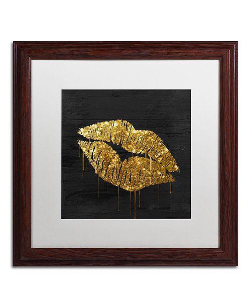 "Trademark Global Color Bakery 'Golden Lips' Matted Framed Art, 16"" x 16"""
