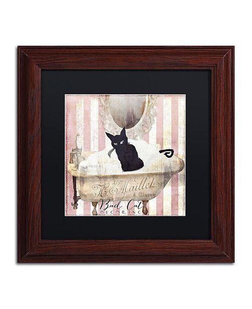 "Trademark Global Color Bakery 'Bad Cat Ii' Matted Framed Art, 11"" x 11"""