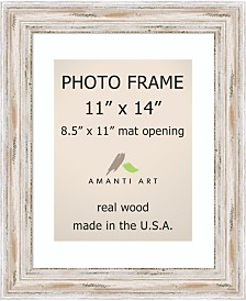 """Amanti Art Alexandria Whitewash 11"""" X 14"""" Matted 8.5"""" X 11"""" Opening Picture or Photo Frame"""