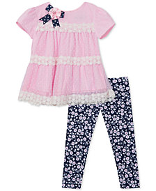 Rare Editions Baby Girls 2-Pc. Lace-Trim Tunic & Floral-Print Leggings Set
