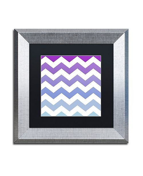 "Trademark Global Color Bakery 'Purple-Blue Chevron' Matted Framed Art, 11"" x 11"""