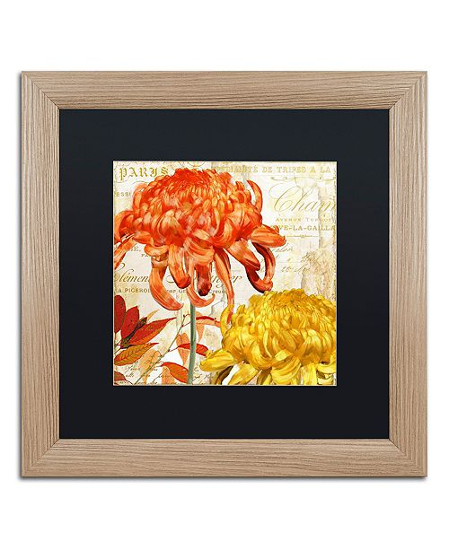 "Trademark Global Color Bakery 'Chrysanthemums I' Matted Framed Art, 16"" x 16"""