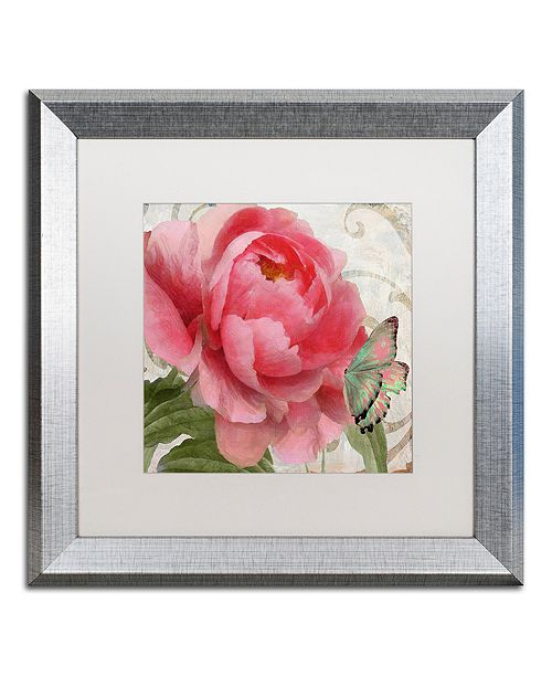 "Trademark Global Color Bakery 'Apricot Peonies Ii' Matted Framed Art, 16"" x 16"""