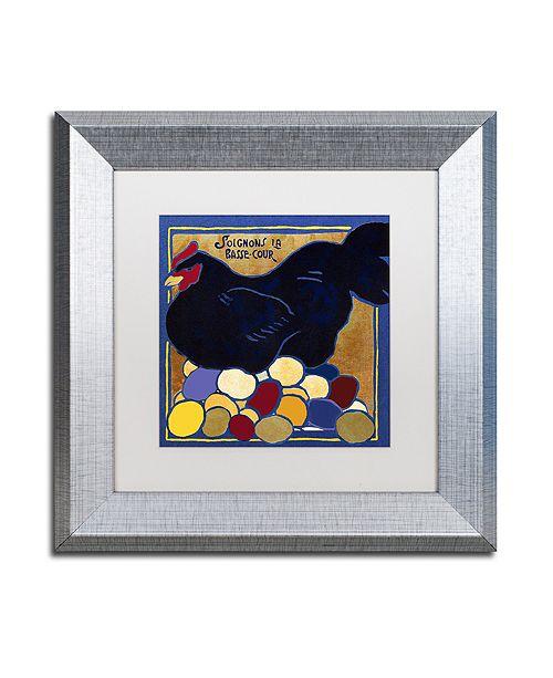"Trademark Global Color Bakery 'Poulets I' Matted Framed Art, 11"" x 11"""