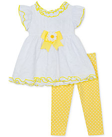 Rare Editions Baby Girls 2-Pc. Bow-Trim Tunic & Leggings Set