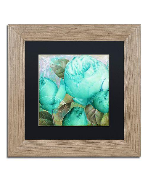 "Trademark Global Color Bakery 'Aqua Rose Ii' Matted Framed Art, 11"" x 11"""