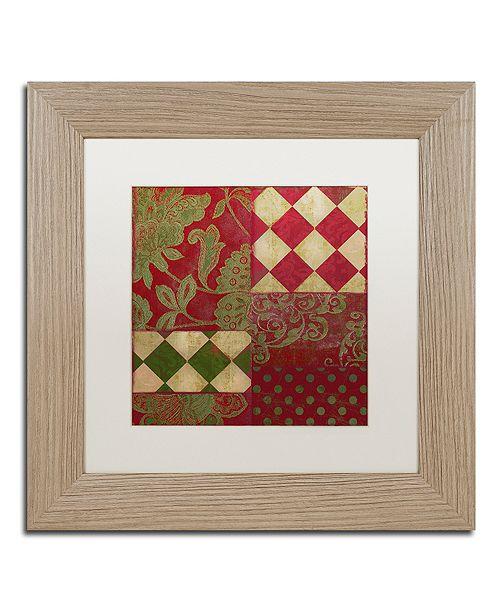 """Trademark Global Color Bakery 'Merry Christmas Patchwork Ii' Matted Framed Art, 11"""" x 11"""""""