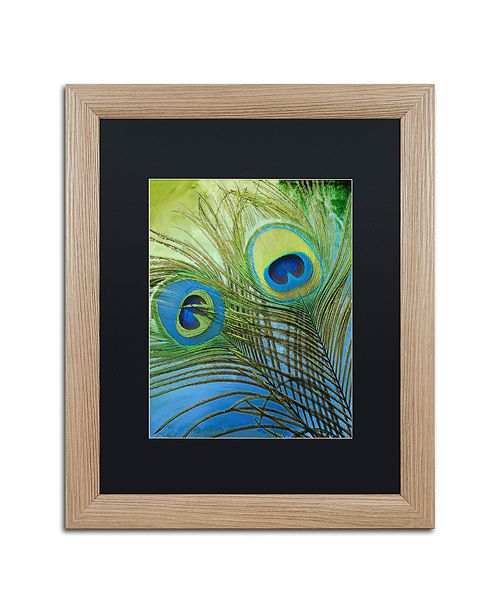 "Trademark Global Color Bakery 'Peacock Candy I' Matted Framed Art, 16"" x 20"""