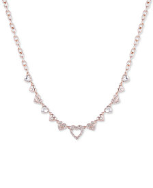 "GUESS Crystal Heart Collar Necklace, 16"" + 2"" extender"