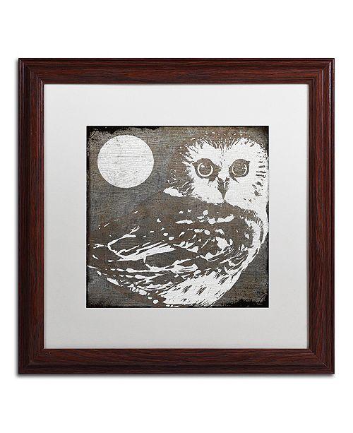 "Trademark Global Color Bakery 'Owl 3' Matted Framed Art, 16"" x 16"""