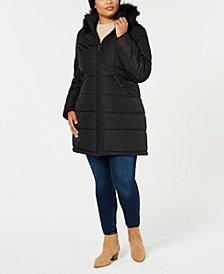 Maralyn & Me Juniors' Plus Size Faux Fur Hooded Puffer Coat