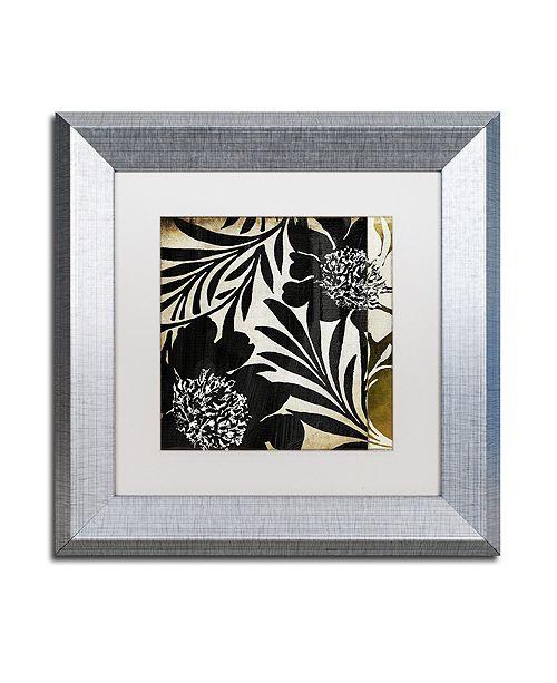 """Trademark Global Color Bakery 'Floral Jungle Lines I' Matted Framed Art, 11"""" x 11"""""""