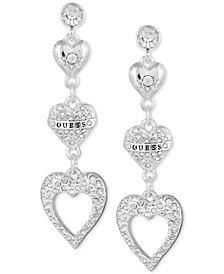 GUESS Crystal Logo Heart Triple Drop Earrings