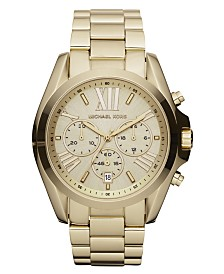 Michael Kors Women's Chronograph Bradshaw Gold-Tone Stainless Steel Bracelet Watch 43mm MK5605