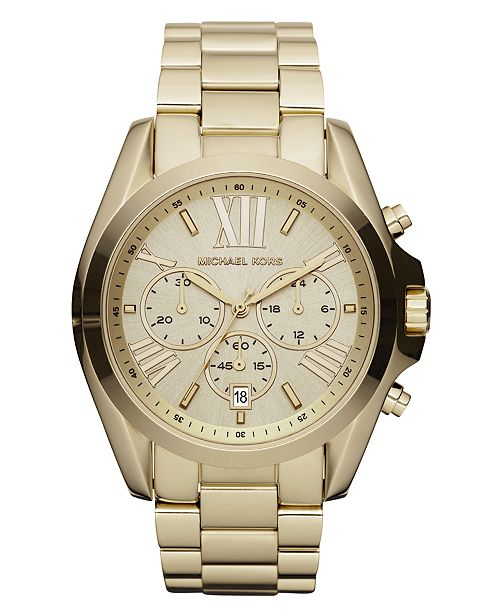 7bfe7978e906 ... Michael Kors Women s Chronograph Bradshaw Gold-Tone Stainless Steel  Bracelet Watch 43mm MK5605 ...