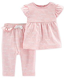 Carter's Baby Girls 2-Pc. Cotton Printed Tops & Pants Set