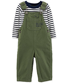 Carter's 2-Pc. Baby Boys Cotton Striped T-Shirt & Overalls Set