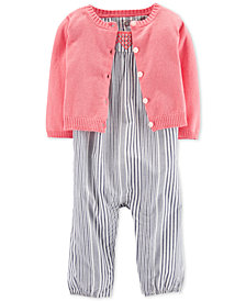 Carter's 2-Pc. Baby Girls Cotton Cardigan & Striped Jumpsuit Set
