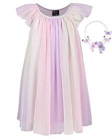 Pink & Violet Little Girls 2-Pc. Rainbow Mesh Dress & Butterfly Headband Set