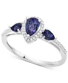 Certified Ruby (7/8 ct. t.w.) & Diamond (1/10 ct. t.w.) Ring in 10k White Gold (Also in Emerald, Sapphire & Tanzanite)