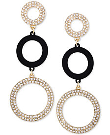 GUESS Gold-Tone Crystal Pavé Triple Drop Earrings