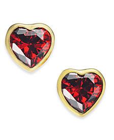 kate spade new york Gold-Tone Crystal Heart Stud Earrings