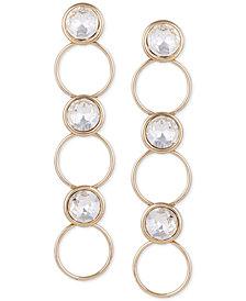 GUESS Gold-Tone Crystal & Circle Linear Drop Earrings