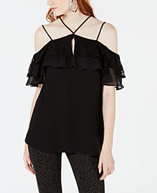 Material Girl Juniors' Off-The-Shoulder Popover Top, Created for Macy's