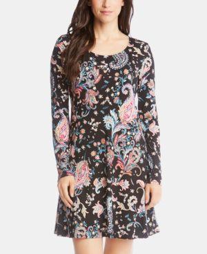 Printed Long-Sleeve A-Line Dress