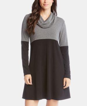 KAREN KANE Colorblock Cowlneck A-Line Dress in Black/Grey