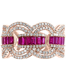 EFFY® Certified Ruby (9/10 ct. t.w.) & Diamond (3/4 ct. t.w.) Ring in 14k Rose Gold