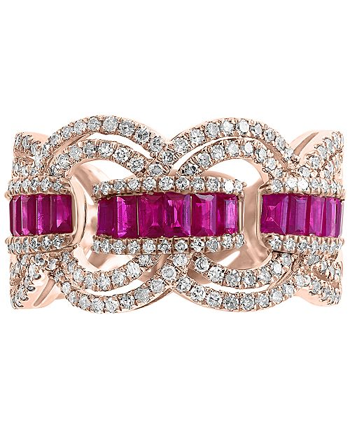 EFFY Collection EFFY® Certified Ruby (9/10 ct. t.w.) & Diamond (3/4 ct. t.w.) Ring in 14k Rose Gold