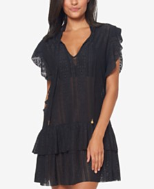 Jessica Simpson Crochet Waist-Frill Ruffle Detail Tunic Cover-Up