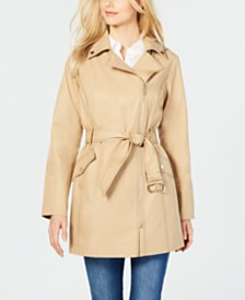 MICHAEL Michael Kors Asymmetrical Water Resistant Belted Raincoat