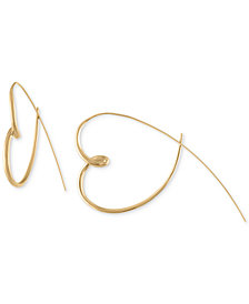 RACHEL Rachel Roy Gold-Tone Heart Spear Hoop Earrings