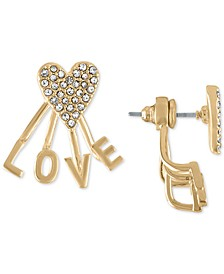 Gold-Tone Pavé Heart Love Front-and-Back Earrings