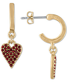 RACHEL Rachel Roy Gold-Tone Hoop & Pavé Heart Drop Earrings